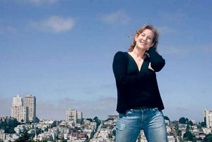 Shanda Sawyer with the hills of San Francisco behind her